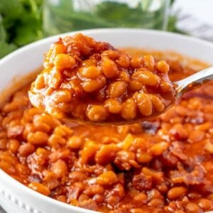 A bowl of baked beans