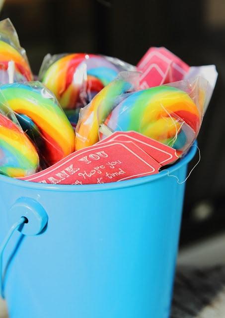 lollipops in a blue bucket