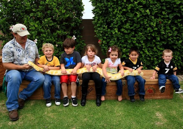 A group of kids holding an albino boa