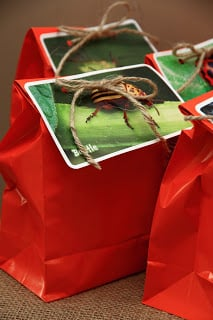 A close up of a red goody bag with bug picture on top