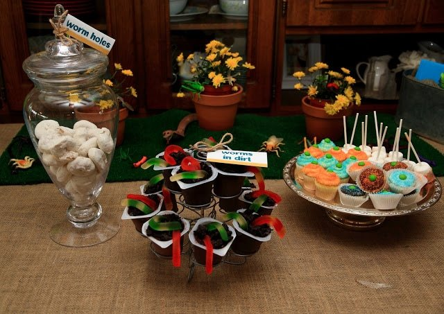 Flowers and food on a table