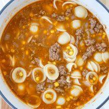 A bowl of Hamburger Soup.