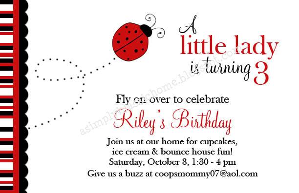 Ladybug invitation