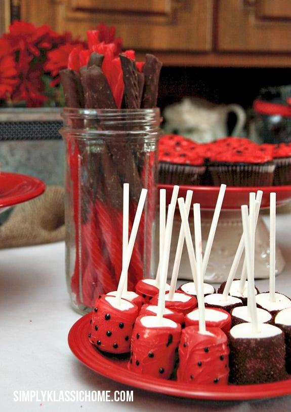 Ladybug party treats on a table