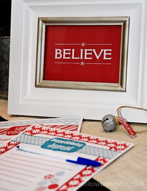 Believe Printable and Letter to Santa