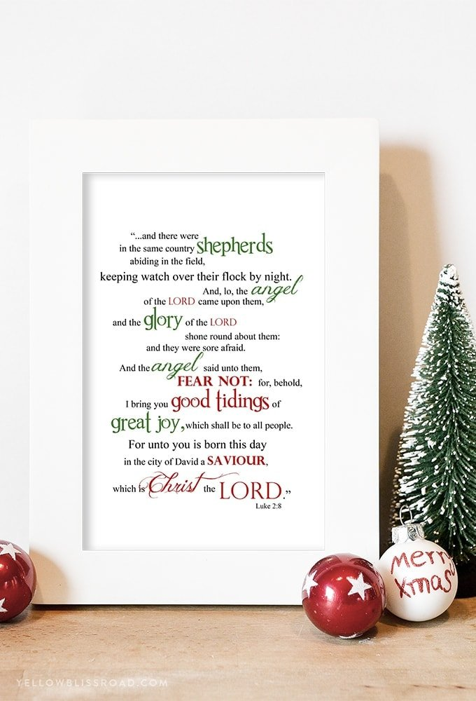 graphic regarding Free Printable Scripture Word Art referred to as Totally free Xmas Printable: Luke 2:8 Phrase Artwork