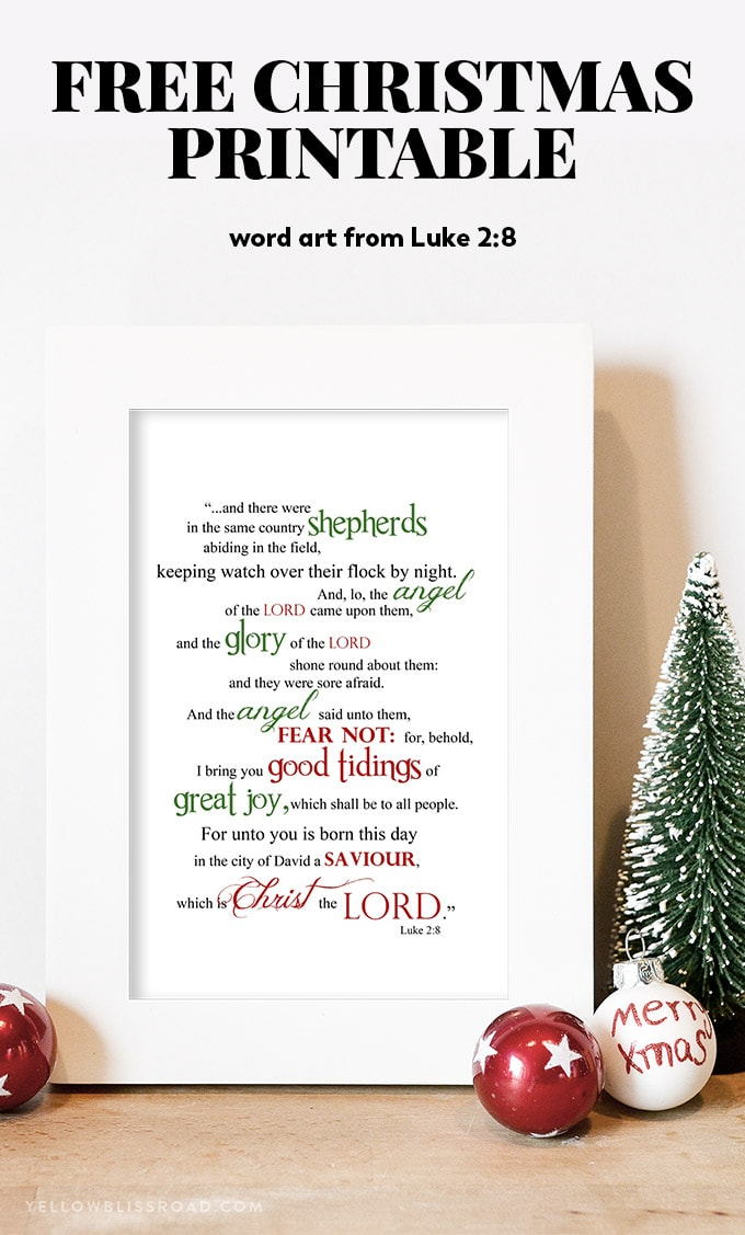 graphic regarding Free Printable Scripture Word Art titled Absolutely free Xmas Printable: Luke 2:8 Term Artwork