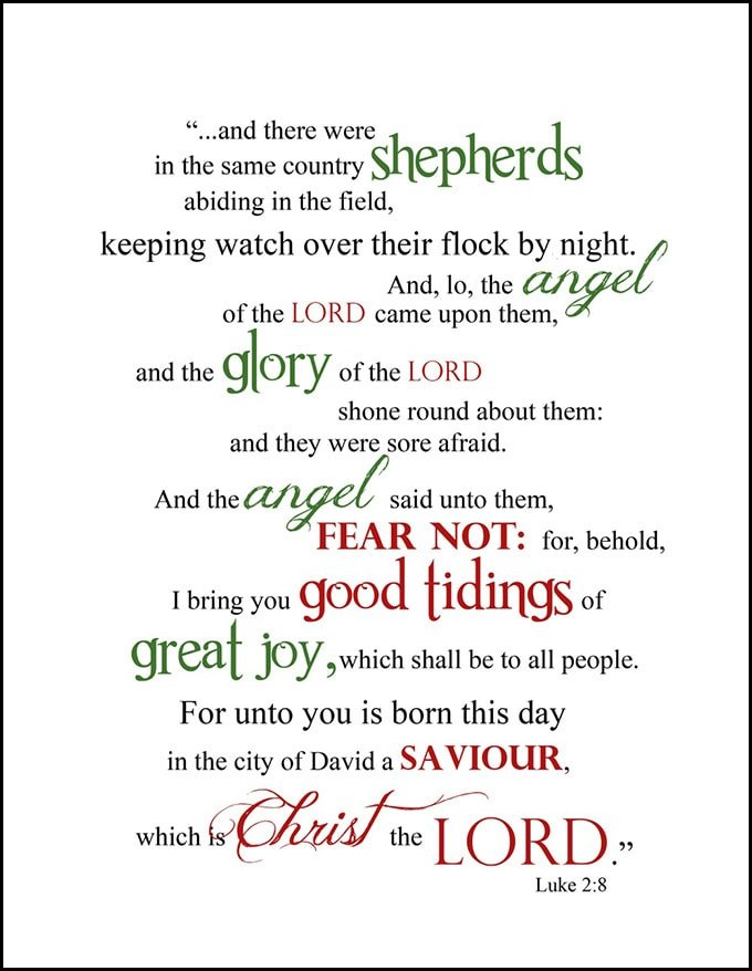 graphic relating to Printable Word Art identify Cost-free Xmas Printable: Luke 2:8 Term Artwork