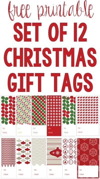 Set of 12 Free Printable Christmas Gift Tags