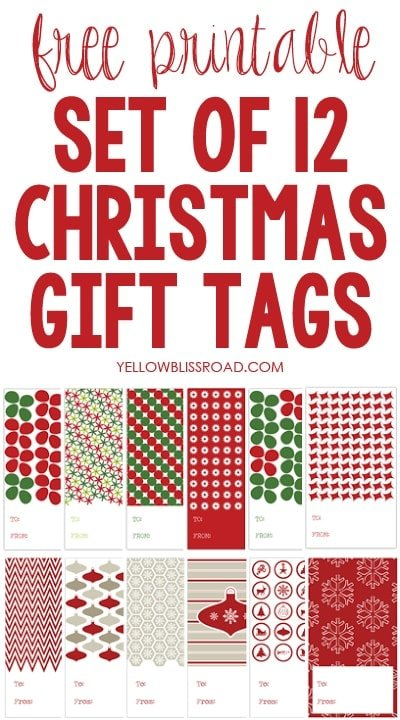 photo relating to 12 Days of Christmas Printable called Xmas Present Tags (12 Times of Xmas Printables #6
