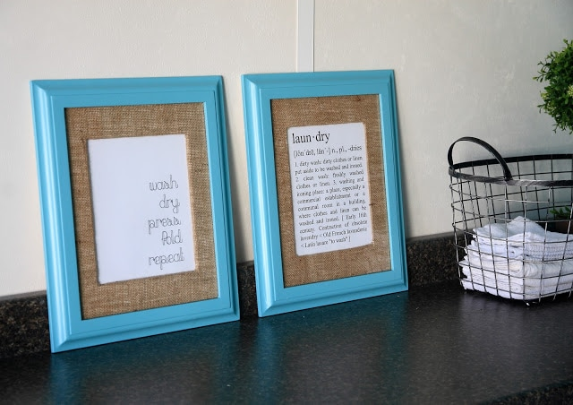 Laundry signs in blue frames
