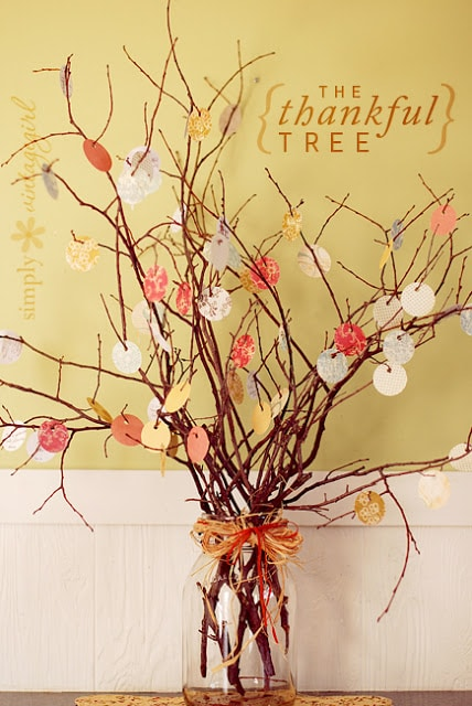 Thankfulness Tree with red, yellow, and orange leaves