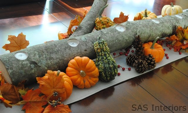 Pumpkins and branch on a table