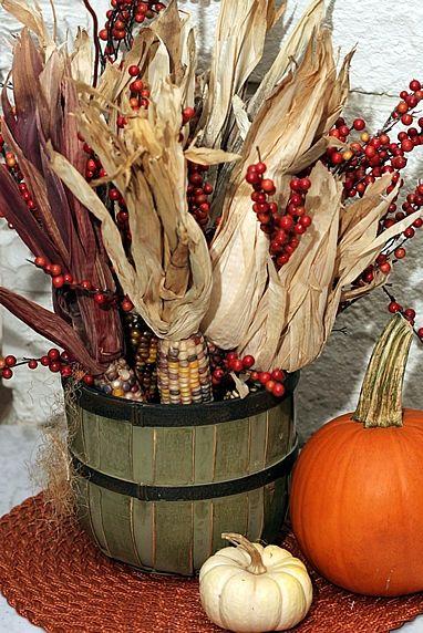 Gathered Corn Cob Display in wooden bucket