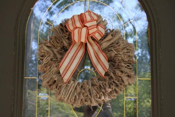 Frayed Burlap Wreath on a front door
