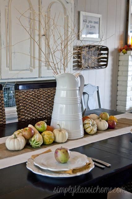 A close up fall decor on a dining table