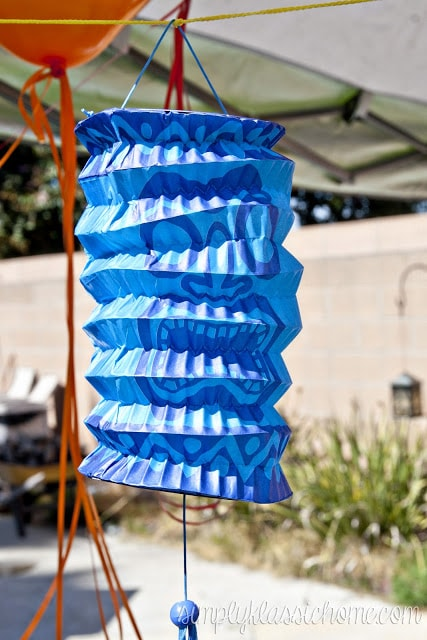 Blue party decor hanging outside