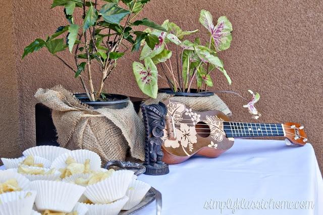 Luau Tiki party decor on a table