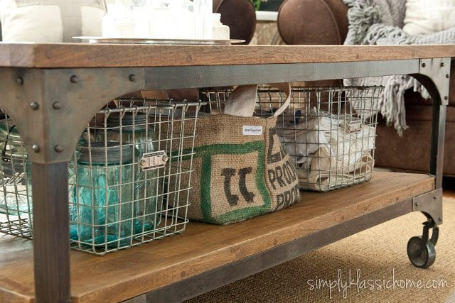 Wire baskets on a coffee table