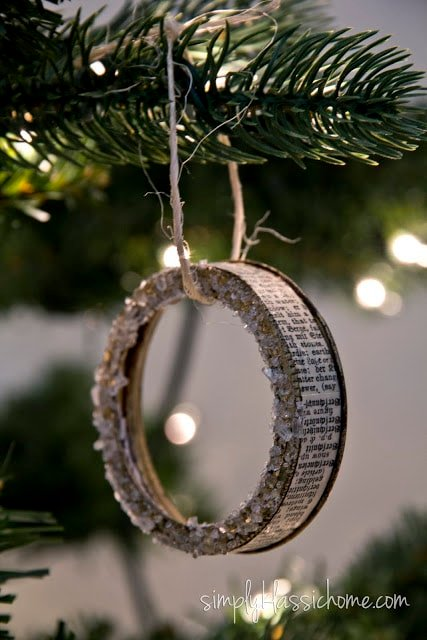 A close up of a canning ring ornament