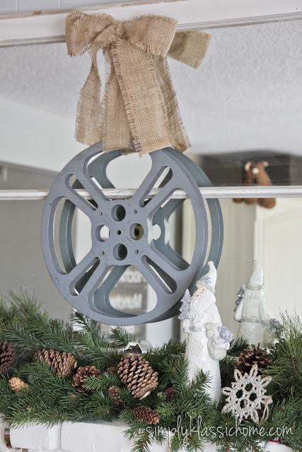 Hanging film reel wreath
