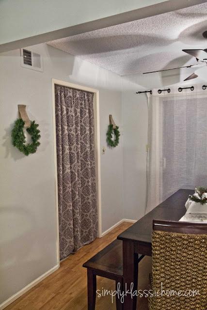 Curtain covering doorway