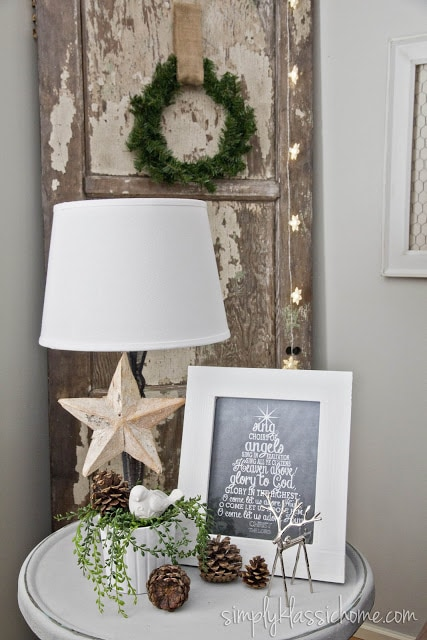 Lamp with Christmas decor in corner of room