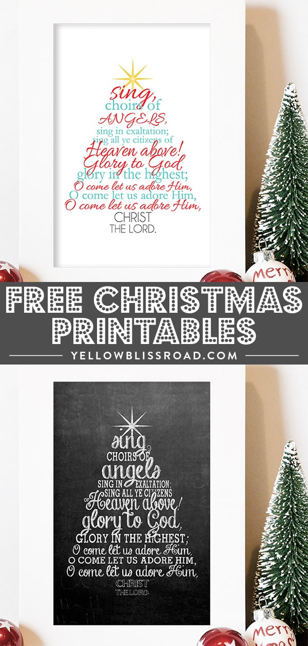 "Free Christmas printable with the Christmas carol ""O Come All Ye Faithful"" lyrics collage."
