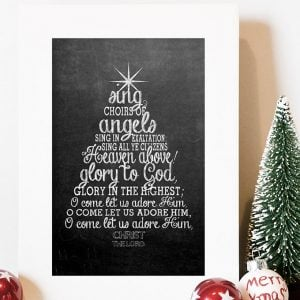 Free Christmas Chalkboard Printable {O Come All Ye Faithful}