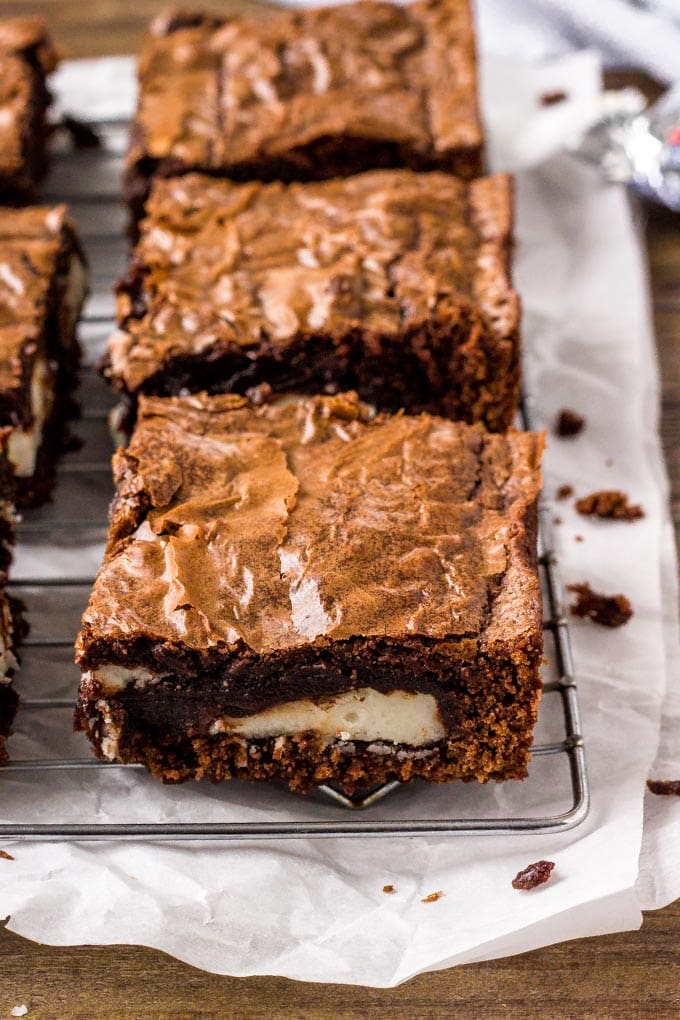 Chocolate Peppermint Patty Brownies stuffed with York Peppermint Patties.