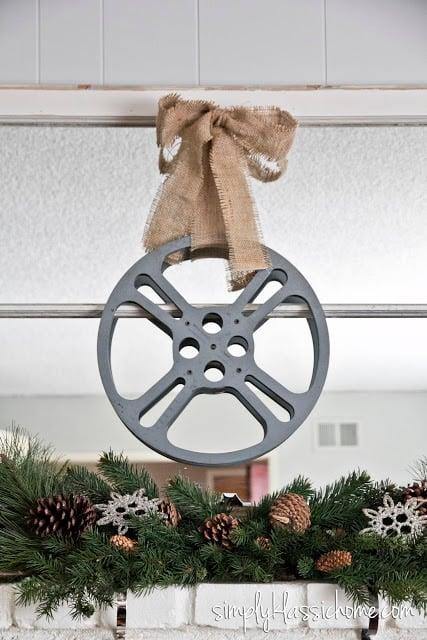 A close up of a film reel wreath