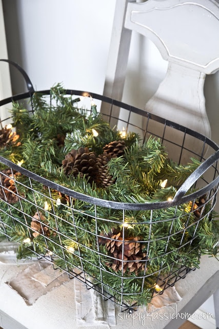 Pinecones and branches in a basket
