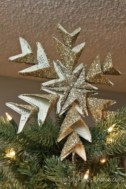 Gold Christmas star on top of tree