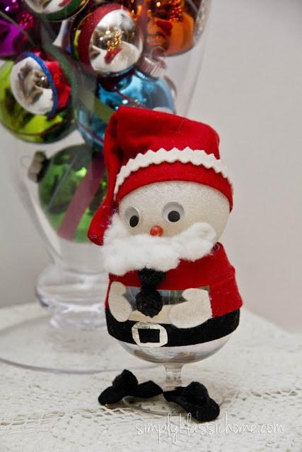 A close up of a decorative Santa