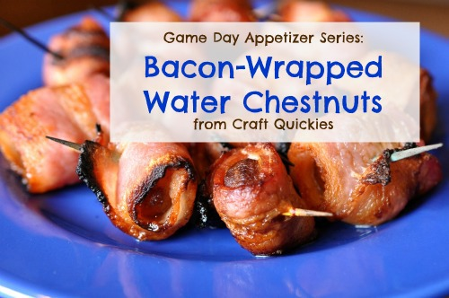 Bacon wrapped water chestnuts on a blue plate