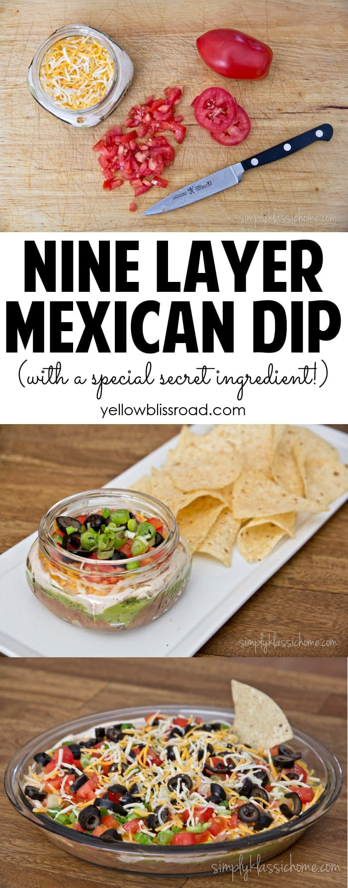 Nine Layer Mexican Dip with a special secret ingredient! So delicious, and perfect for game day parties!