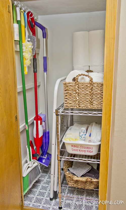 Cleaning supplies in a closet