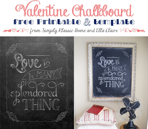Social media image of Valentine Chalkboard free printable and template