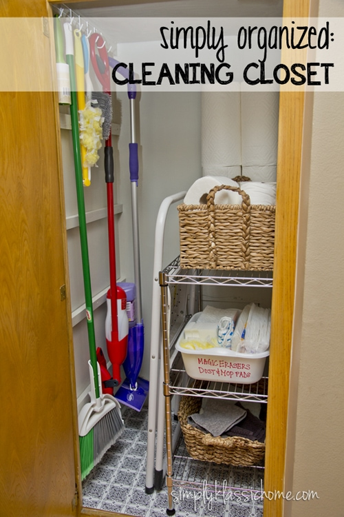 Closet with cleaning supplies