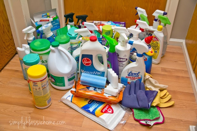A bunch of cleaning supplies on a table