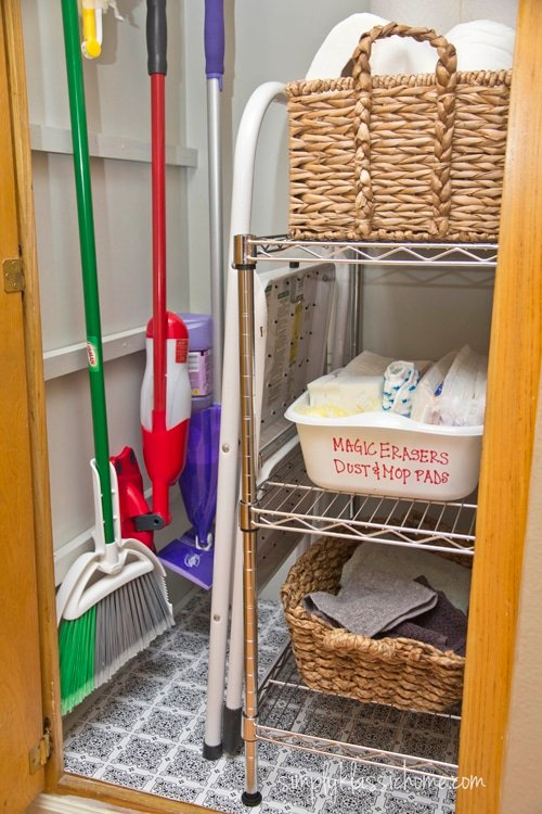 A closet with cleaning supplies