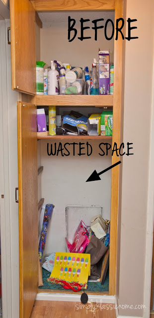 An open cabinet with cleaning supplies