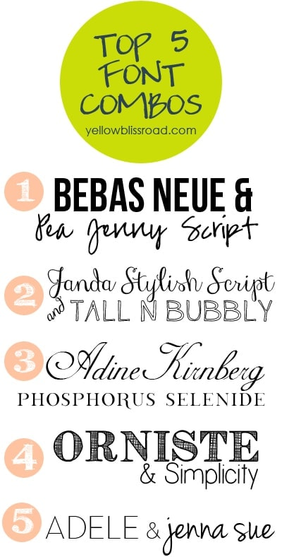 Top Five Font Combinations {Five on Friday}