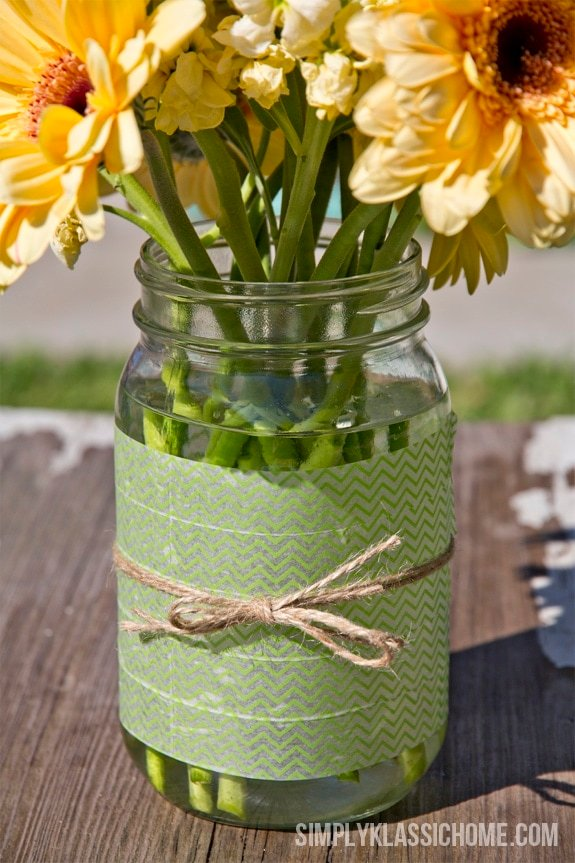 Easy DIY Washi Tape Mason Jar Vase & A Spring Linky Party Announcement