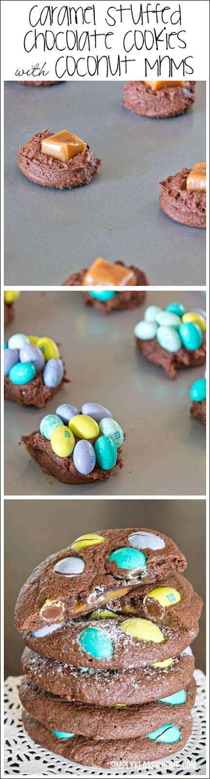A sheet pan with chocolate cookie dough and M&Ms