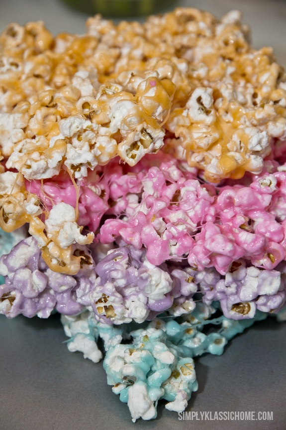 A plate of different colored popcorn