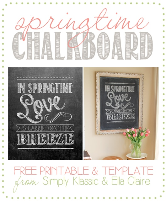 Spring Chalkboard Free Printable & Template - print the chakboard and frame it, or download the free template and draw your own! www.yellowblissroad.com