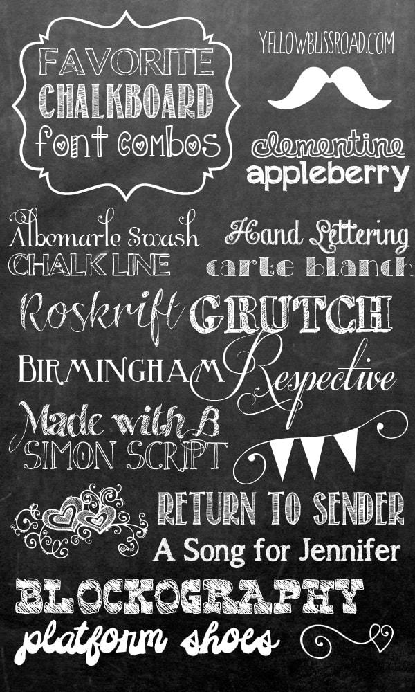 Favorite Free Chalkboard Font Combos