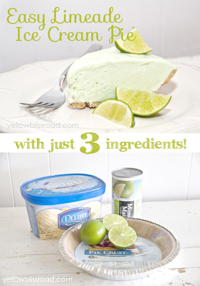 Easy Limeade Ice Cream Pie - It only has three ingredients, making it the perfect easy summer treat!