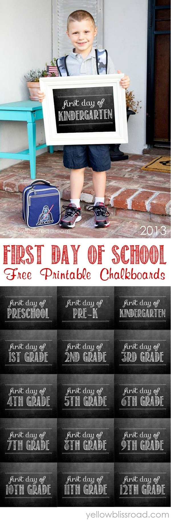 Free Chalkboard Printable for the First Day of School signs